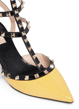 Detail View - Click To Enlarge - Valentino - 'Rockstud' colourblock patent leather caged pumps