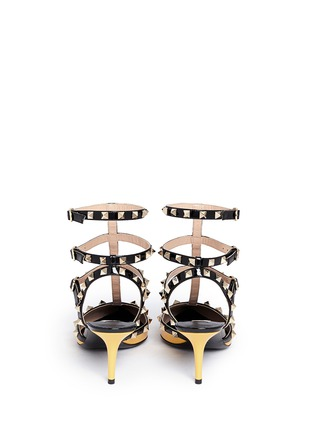 Back View - Click To Enlarge - Valentino - 'Rockstud' colourblock patent leather caged pumps