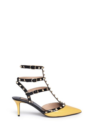 Main View - Click To Enlarge - Valentino - 'Rockstud' colourblock patent leather caged pumps