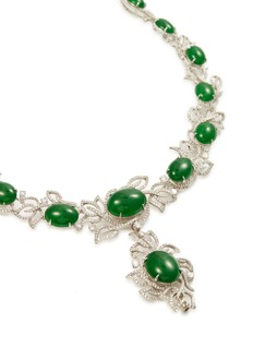 Samuel Kung Diamond jade 18k white gold necklace