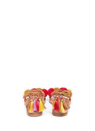 Back View - Click To Enlarge - PEDDER RED - Pompom ankle tie sandals