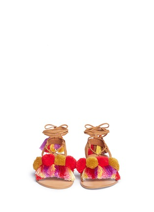 Front View - Click To Enlarge - PEDDER RED - Pompom ankle tie sandals