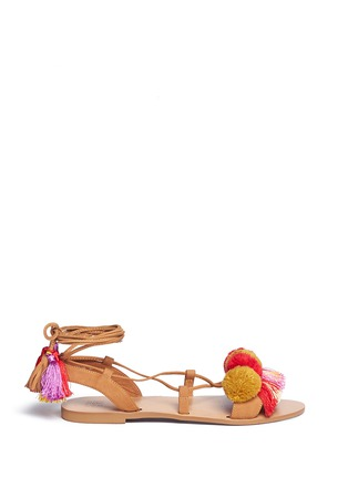 Main View - Click To Enlarge - PEDDER RED - Pompom ankle tie sandals