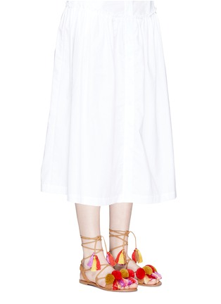 Figure View - Click To Enlarge - PEDDER RED - Pompom ankle tie sandals