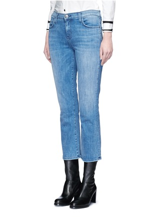 Front View - Click To Enlarge - Current/Elliott - 'The Kick' relaxed fit cropped jeans