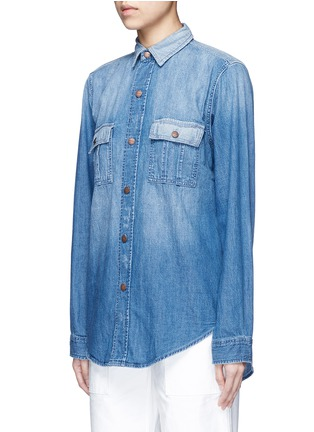 Front View - Click To Enlarge - Current/Elliott - 'The Whitney Prep' patchwork denim shirt