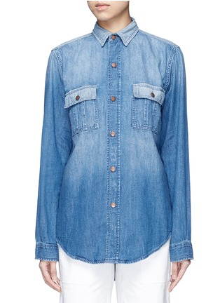 Main View - Click To Enlarge - Current/Elliott - 'The Whitney Prep' patchwork denim shirt