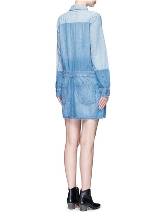 Back View - Click To Enlarge - Current/Elliott - 'The Whitney' patchwork denim shirt dress