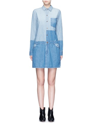Main View - Click To Enlarge - Current/Elliott - 'The Whitney' patchwork denim shirt dress