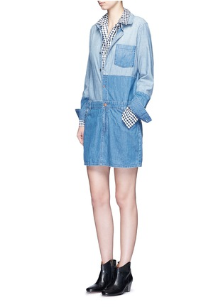 Figure View - Click To Enlarge - Current/Elliott - 'The Whitney' patchwork denim shirt dress