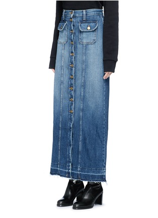 Front View - Click To Enlarge - Current/Elliott - 'The Sally' raw hem button denim skirt