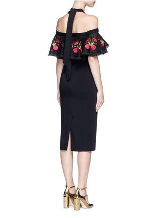 Back View - Click To Enlarge - Temperley London - 'Lyra' floral embroidery off-shoulder halter dress