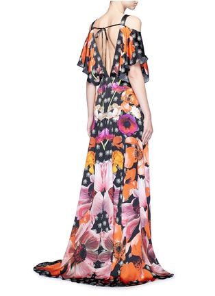 Back View - Click To Enlarge - Temperley London - 'Myrtle' poppy print cold-shoulder silk dress