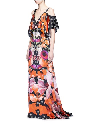 Figure View - Click To Enlarge - Temperley London - 'Myrtle' poppy print cold-shoulder silk dress