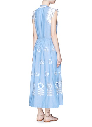 Back View - Click To Enlarge - Temperley London - 'Gilda' floral embroidery sleeveless chambray maxi dress