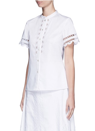 Front View - Click To Enlarge - 68244 - 'Bellanca' guipure lace cotton shirt