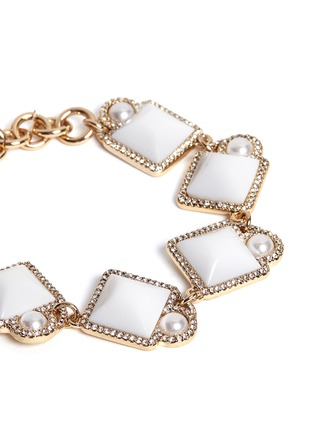Detail View - Click To Enlarge - Lulu Frost - 'Mary' glass pearl square cabochon bracelet