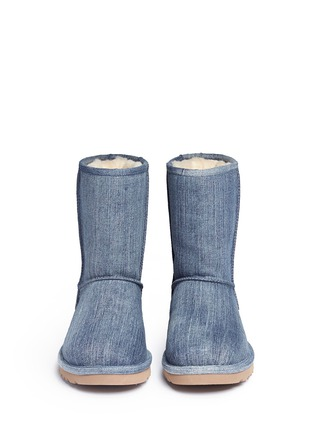 Front View - Click To Enlarge - UGG - 'Classic Short' washed denim boots
