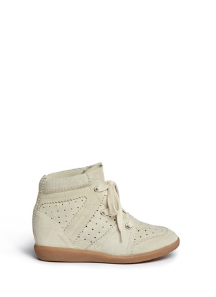 Main View - Click To Enlarge - Isabel Marant Étoile - 'Bobby' perforated suede concealed wedge sneakers