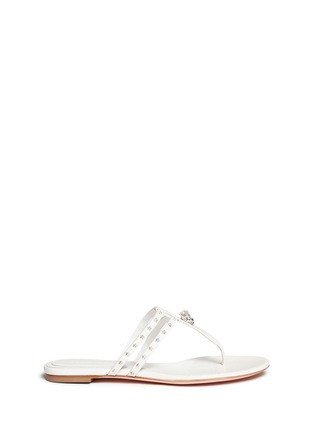 Main View - Click To Enlarge - ALEXANDER MCQUEEN - King skull and star stud leather thong sandals