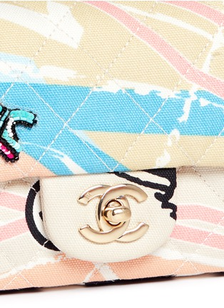 Detail View - Click To Enlarge - Vintage Chanel - Embellished quilted canvas flap bag