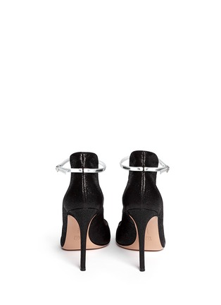 Back View - Click To Enlarge - Gianvito Rossi - Shiny cracked suede peep toe pumps