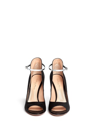 Figure View - Click To Enlarge - Gianvito Rossi - Shiny cracked suede peep toe pumps