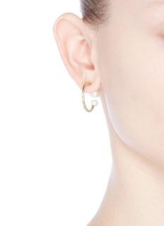 Sophie Bille Brahe 'Petite Boucle Kelly' pearl 14k gold hoop earrings