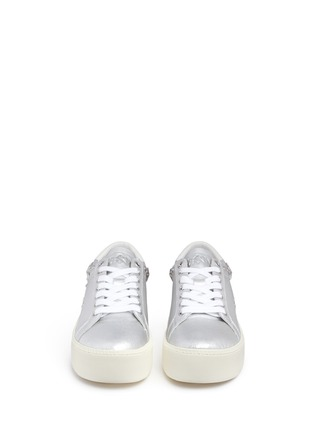Front View - Click To Enlarge - Ash - Cyber' star stud metallic leather platform sneakers