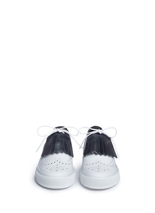 Front View - Click To Enlarge - Clergerie - 'Tolk' detachable kiltie leather brogue sneakers