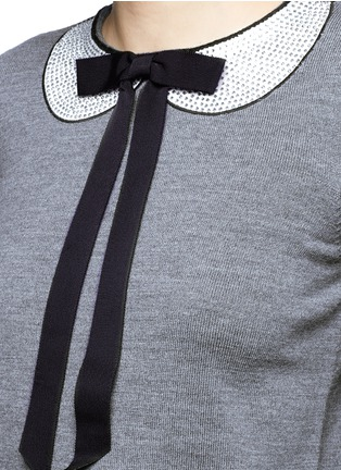 Detail View - Click To Enlarge - alice + olivia - 'Jensyn' strass collar intarsia neck tie wool sweater
