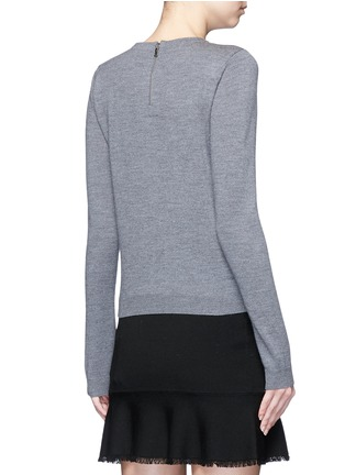 Back View - Click To Enlarge - alice + olivia - 'Jensyn' strass collar intarsia neck tie wool sweater