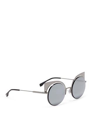Figure View - Click To Enlarge - Fendi - 'Eyeshine' metal round cat eye mirror sunglasses