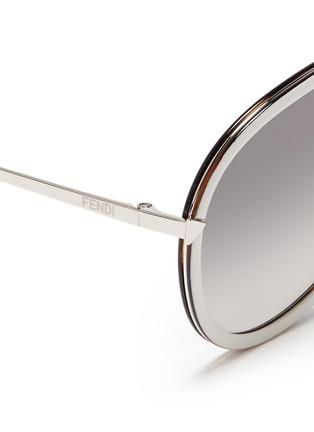 Detail View - Click To Enlarge - FENDI - 'Funky Angle' acetate rim metal aviator sunglasses