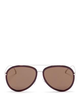 Main View - Click To Enlarge - FENDI - 'Funky Angle' acetate rim metal aviator sunglasses