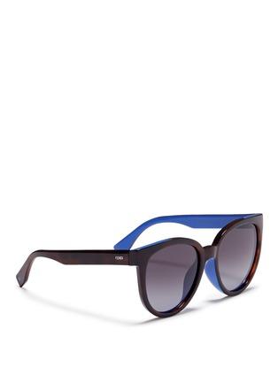 Figure View - Click To Enlarge - Fendi - Colourblock acetate round cat eye sunglasses