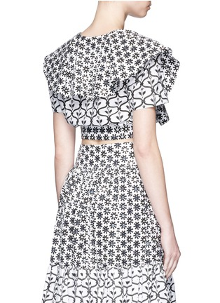 Back View - Click To Enlarge - Temperley London - 'Lizette' cape detail tie front cropped shirt