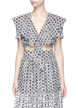Main View - Click To Enlarge - Temperley London - 'Lizette' cape detail tie front cropped shirt