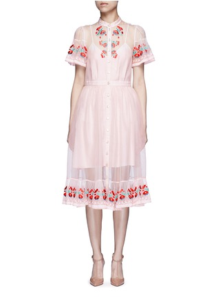 Main View - Click To Enlarge - Temperley London - 'Elette' floral embroidery silk organza dress
