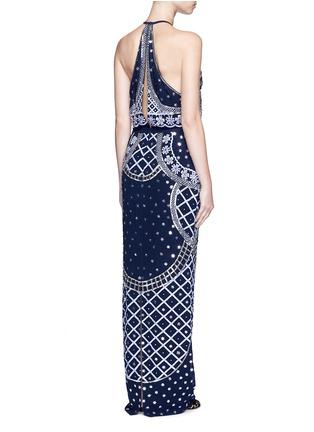 Back View - Click To Enlarge - Temperley London - 'Kekipi' star embellished silk halter dress