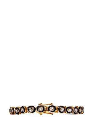 Back View - Click To Enlarge - Aishwarya - Mounted diamond gold alloy tennis bracelet