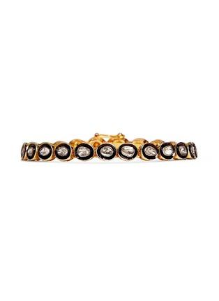 Main View - Click To Enlarge - Aishwarya - Mounted diamond gold alloy tennis bracelet