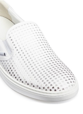 Detail View - Click To Enlarge - Jimmy Choo - ''GROVE' METALLIC HOUNDSTOOTH LEATHER SKATE SLIP-ONS