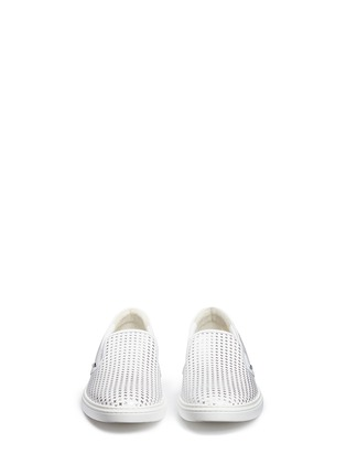 Front View - Click To Enlarge - Jimmy Choo - ''GROVE' METALLIC HOUNDSTOOTH LEATHER SKATE SLIP-ONS