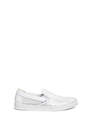 Main View - Click To Enlarge - Jimmy Choo - ''GROVE' METALLIC HOUNDSTOOTH LEATHER SKATE SLIP-ONS