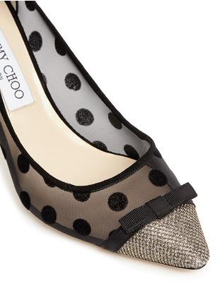 Detail View - Click To Enlarge - Jimmy Choo - 'Dorothy' glitter lamé polka dot mesh pumps