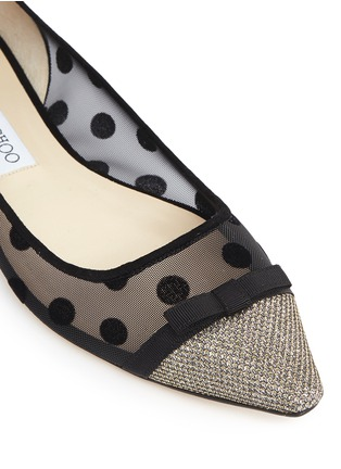 Detail View - Click To Enlarge - Jimmy Choo - 'Dorothy' glitter lamé polka dot mesh flats