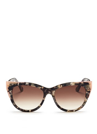 Main View - Click To Enlarge - Thierry Lasry - 'Epiphany' metal rim tortoiseshell acetate cat eye sunglasses