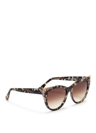 Figure View - Click To Enlarge - Thierry Lasry - 'Epiphany' metal rim tortoiseshell acetate cat eye sunglasses