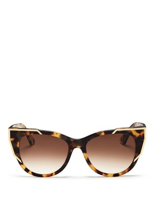 Main View - Click To Enlarge - Thierry Lasry - 'Butterscotchy' tortoiseshell acetate angular metal rim sunglasses